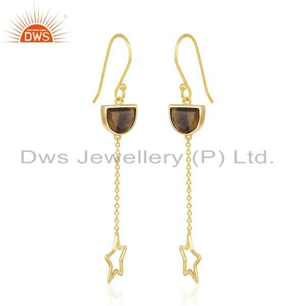 Exporter Tiger Eye Gemstone Gold Plated 925 Silver Star Charm Dangle Earring Manufacturer