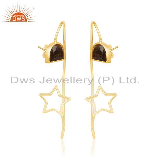 Exporter Star Design Yellow Gold Plated 925 Silver Tiger Eye Gemstone Earring Wholesaler