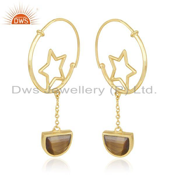 Exporter 925 Silver Gold Plated Tiger Eye Gemstone Star Charm Hoop Earring Manufacturers