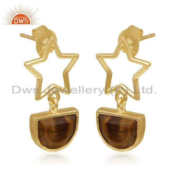 Exporter Lucky Star Charm 925 Silver Gold Plated Tiger Eye Gemstone Earrings Wholesale