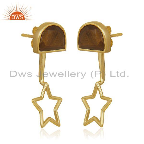 Exporter Yellow Gold Plated 925 Silver Tiger Eye Gemstone Star Design Earring Wholesale