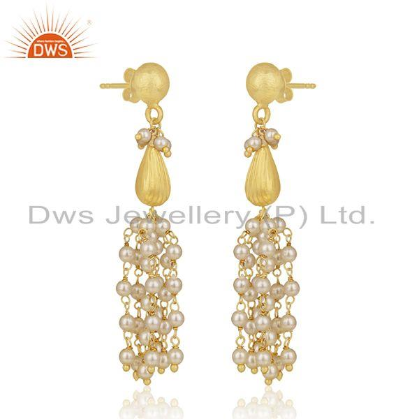 Exporter Gold Plated 925 Silver Natural Pearl Traditional Earrings Manufacturer India