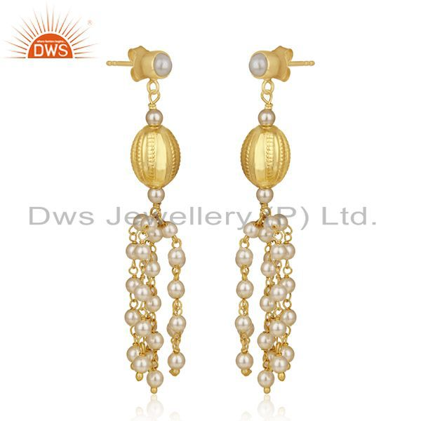 Exporter Gold Plated 92.5 Sterling Silver Indian Traditional Chandelier Earring Supplier