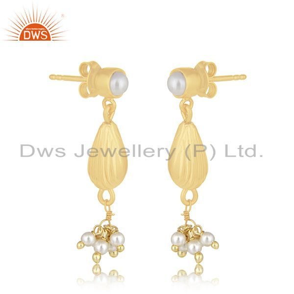 Exporter 14k Gold Plated 925 Silver Natural Pearl Dangle Earring Manufacturer of Jewelry