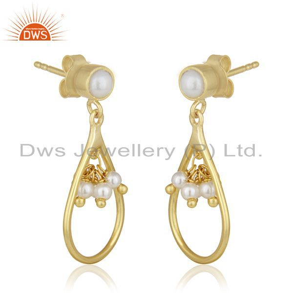 Exporter Handmade 925 Silver Gold Plated Natural Pearl Earrings Jewelry For Womens