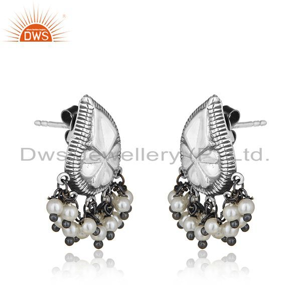 Exporter Handcraved Floral Design 925 Silver Natural Pearl Designer Earrings Wholesale