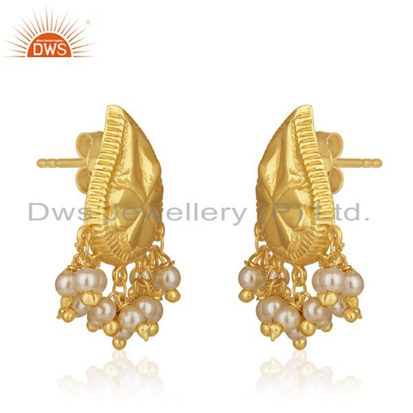 Exporter 14k Gold Plated Handcraved 925 Silver White Pearl Earrings For Wedding Jewelry