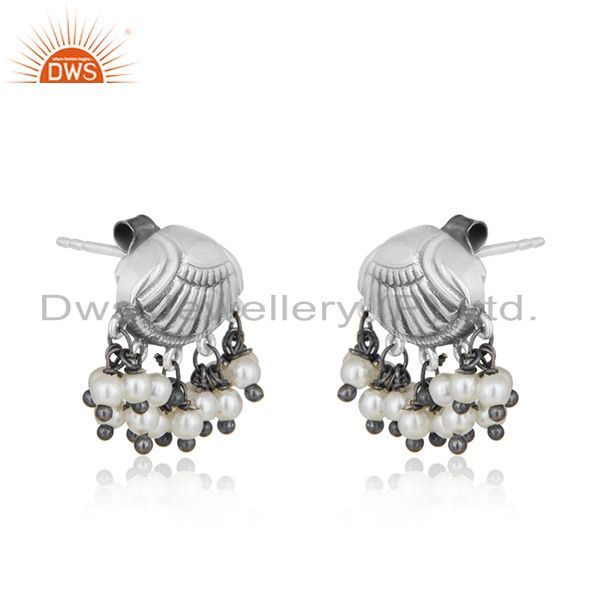 Exporter Oxidized 925 Silver Handcrafted Designer Natural Pearl Earring Manufacturer