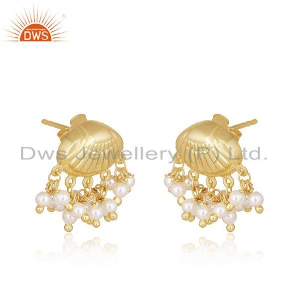 Exporter Natural Pearl Gold Plated 925 Silver Handcrafted Earrings Manufacturer India