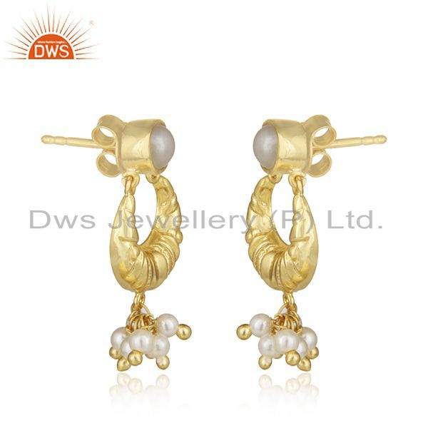 Exporter Handcrafted 925 Silver Gold Plated White Pearl Earrings Wholesale Jewelry Spply