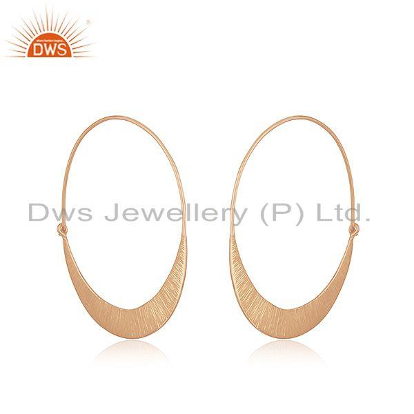 Exporter Handmade Rose Gold Plated 925 Silver Simple Hoop Earrings Jewelry for Girls