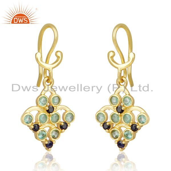 Exporter Gold Plated 925 Silver Emerald and Blue Sapphire Birthstone Earrings Manufacture