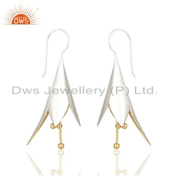 Exporter White and Gold Plated Sterling Silver Designer Earrings Wholesale
