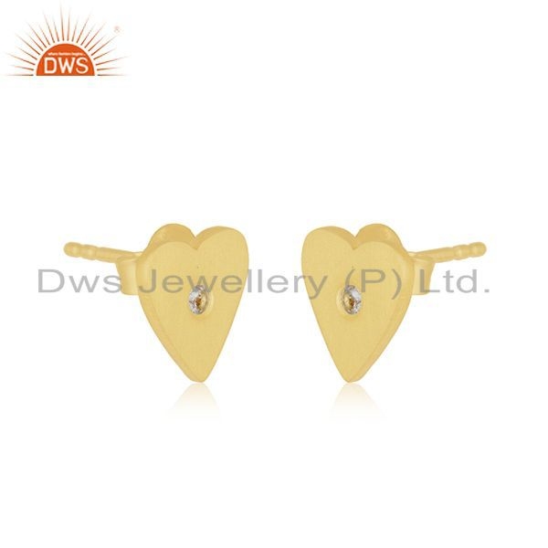 Exporter Heart Shape 925 Sterling Silver Gold Plated Cz Stud Earrings Manufacturer India