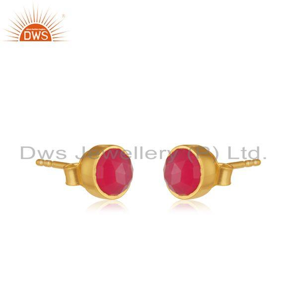 Exporter 925 Silver Gold Plated Natural Pink Chalcedony Gemstone Stud Earrings