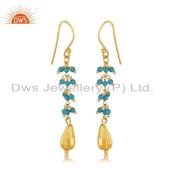 Exporter Silver Gold Plated Natural Turquoise Gemstone Earring Jewelry Manufacturer