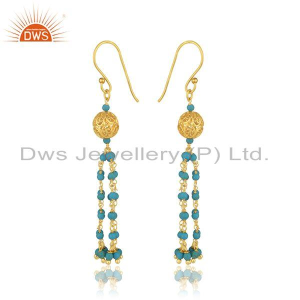Exporter Designer Silver Gold Plated Turquoise Gemstone Earring Jewelry Supplier
