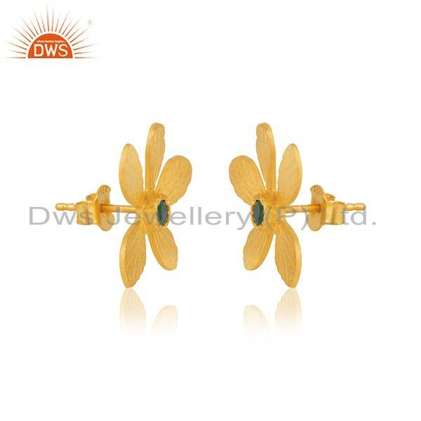 Exporter Gold Plated 925 Silver Green Onyx Gemstone Leaf Stud Earrings Manufacturer India