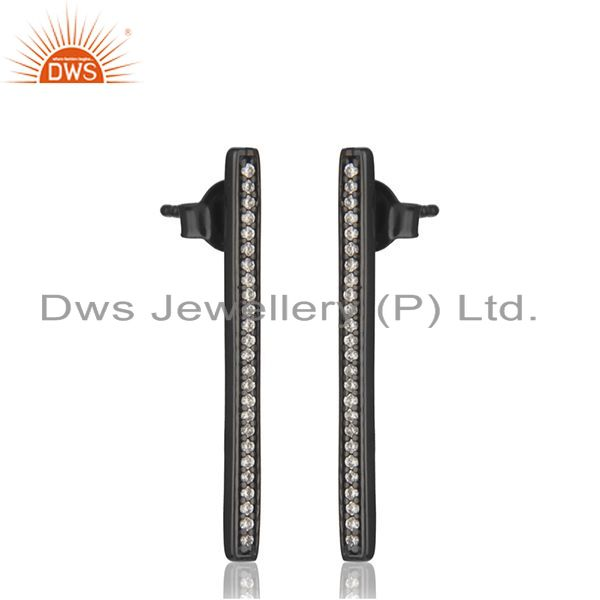Exporter Liner Shape Black Rhodium Plated 925 Silver Earring Jewelry Supplier