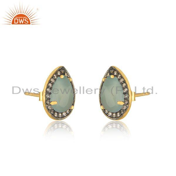 Exporter Aqua Chalcedony Gemstone 925 Silver Stud Earrings Manufacturer of Custom Jewelry