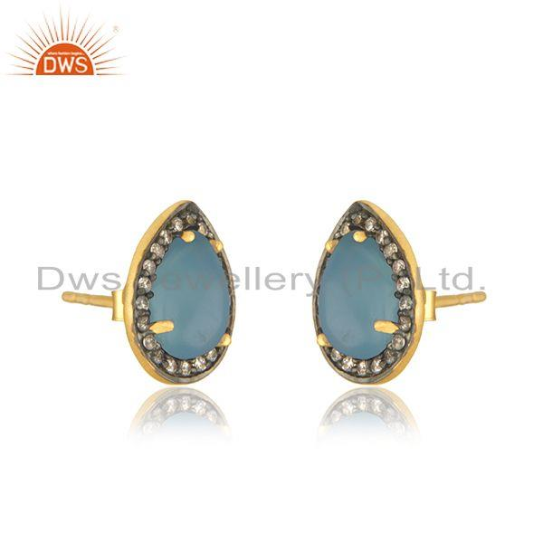 Exporter Blue Chalcedony Gemstone 925 Silver Gold Plated Stud Earrings Wholesale India