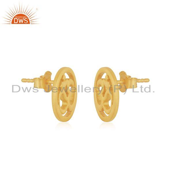 Exporter Designer Gold Plated OM Charm Plain Silver Stud Earring Jewelry