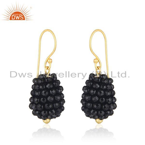 Exporter Black Onyx Beaded Gemstone Gold Plated Silver Earrings Jewelry