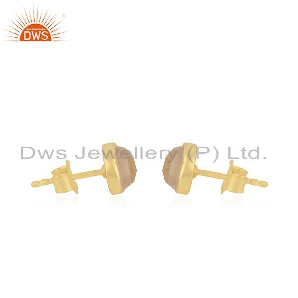 Exporter Girls Gold Plated Silver Rose Quartz Gemstone Stud Earrings Jewelry Supplier