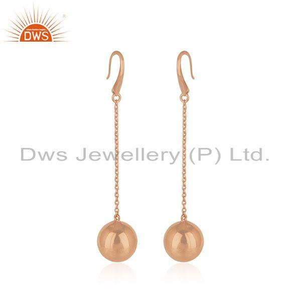 Exporter Rose Gold Plated Designer Silver Girls Chain Earrings Jewelry
