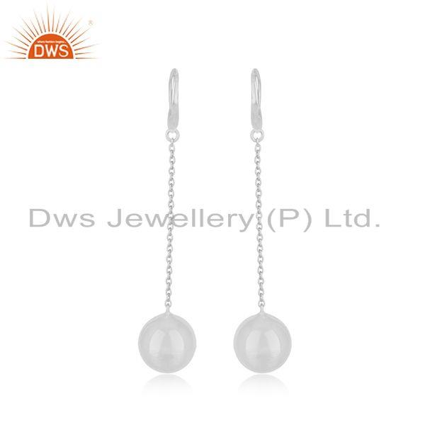 Exporter White Rhodium Plated Silver Chain Earrings Designer Jewelry For Girls