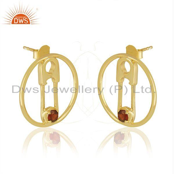 Exporter Natural Garnet Gemstone Pin Design Gold Plated 925 Silver Earring Jewellery