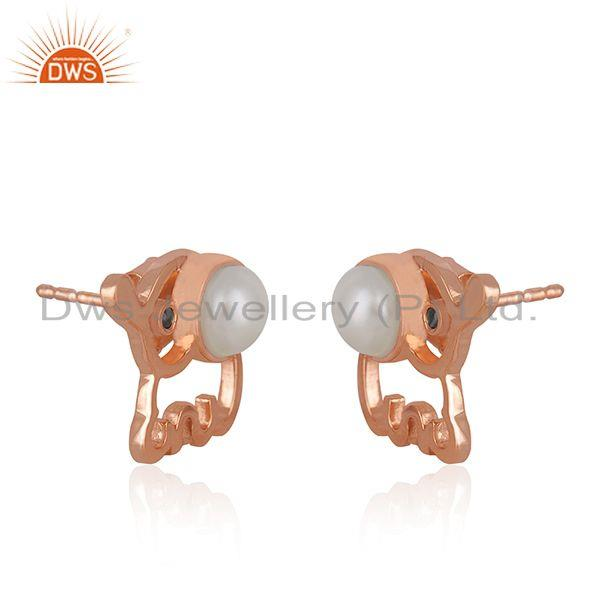 Exporter Rose Gold Plated 925 Silver Elephant Design Pearl Stud Earring Manufacturer