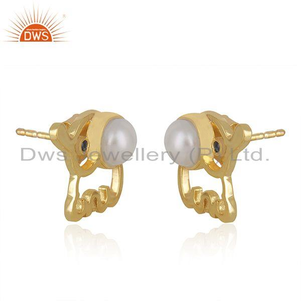 Exporter Elephant Design Customized 925 Silver Gold Plated Pearl Stud Earring Wholesaler