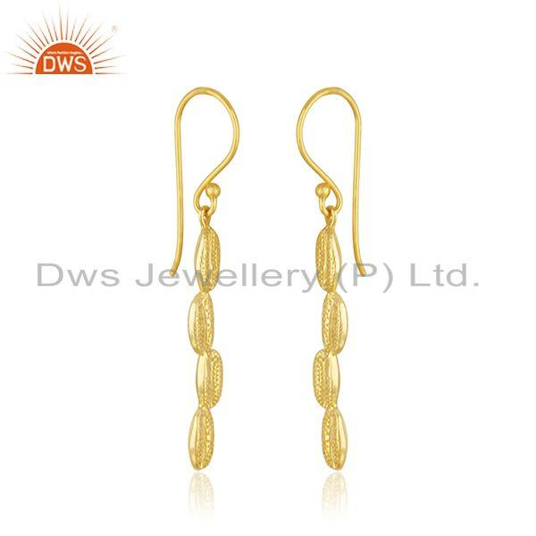 Exporter Handcrafted 925 Sterling Silver Gold Plated Dangle Earrings Manufacturer INdia