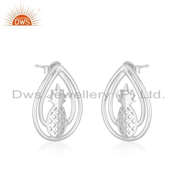 Exporter Pineapple Design 925 Sterling Silver Earring Jewellery Manufacturer in Jaipur