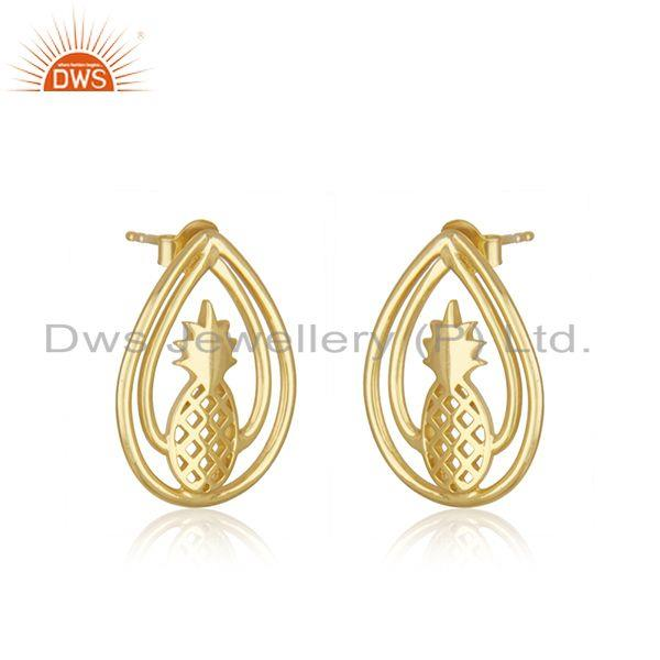 Exporter 14k Yelow Gold Plated Sterling Silver Pineapple Stud Earring Manufacturer Jaipur