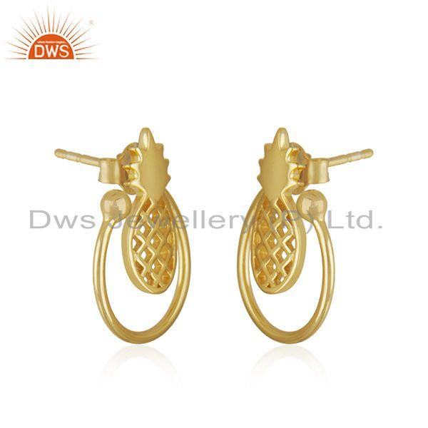 Exporter Yellow Gold Plated Sterling Silver Pineapple Stud Earring For Womens Jewelry