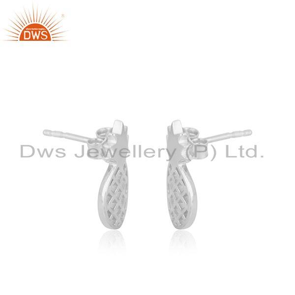 Exporter Customized 925 Sterling Silver Pineapple Stud Earrings Manufacturer of Jewellery