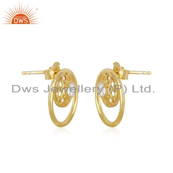 Exporter White Zircon Designer 925 Silver 14k Yellow Gold Plated Stud Earring Manufacture