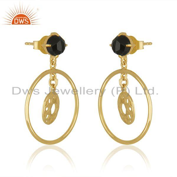 Exporter Black Onyx Gemstone Yellow Gold Plated 925 Silver Drop Earrings Wholesaler India