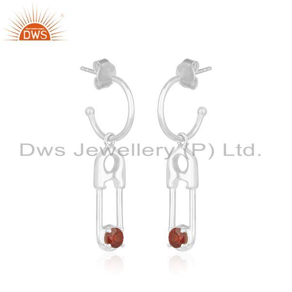 Exporter Natural Garnet Birthstone Fine Sterling Silver Pin Design Earring Wholesale