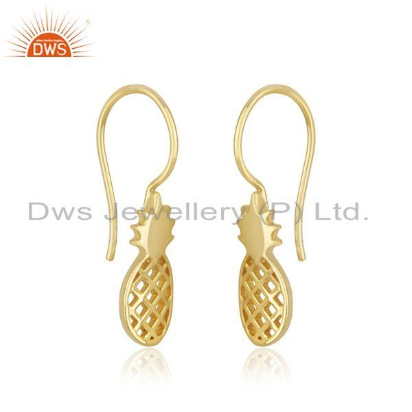 Exporter Gold Plated 925 Silver Pineapple Plain Earring for Girls Jewelry Manufacturer