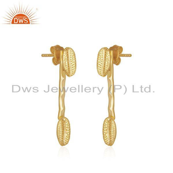 Exporter Handmade 925 Sterling Silver Yellow Gold Plated Designer Earring Wholesaler