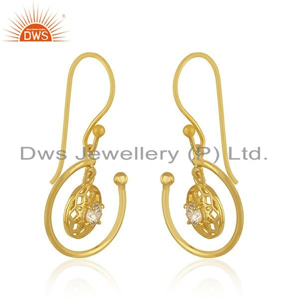 Exporter White Zircon Yellow Gold Plated Sterling Silver Drop Earrings Manufacturer India