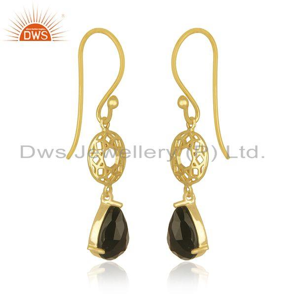 Exporter Black Onyx Gemstone 925 Silver GOld Plated Dangle Hook Earrings Wholesaler india