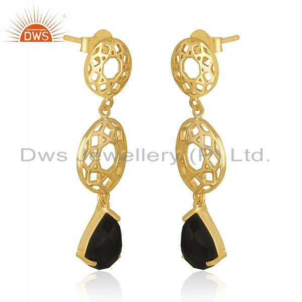 Exporter Designer Sterling Silver Gold Plated Black Onyx Gemstone Earrings Manufacturers