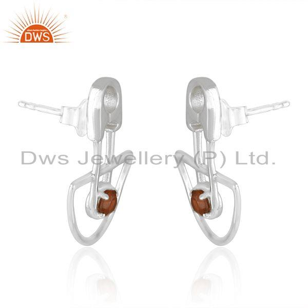 Exporter Customized Design 925 Sterling Silver Garnet Gemstone Stud Earrings Manufacturer
