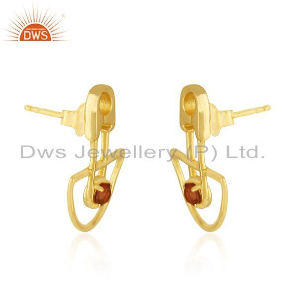 Exporter Yellow Gold Plated Customized Design 925 Silver Garnet Stone Stud Earring