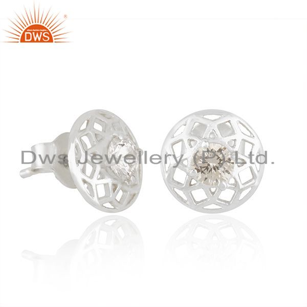 Exporter White Zircon Round 925 Sterling Silver Stud Earrings For Teenage Girls Jewelry