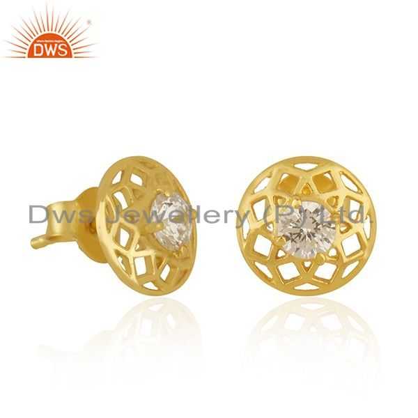 Exporter New Arrival Gold Plated 925 Silver White Zircon Round Stud Earrings for Girls